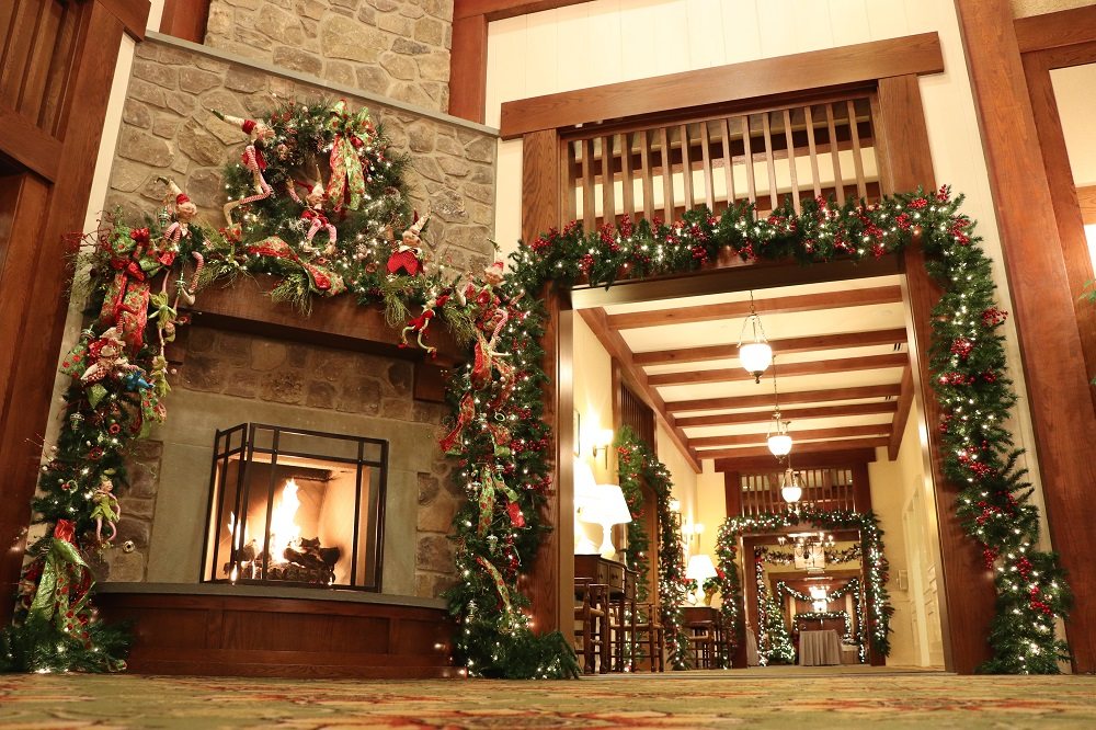old mill room at boars head holiday decorations